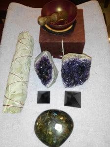 Divers minéraux, sauge